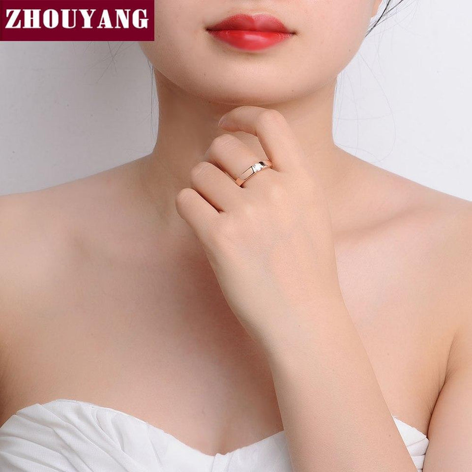 ZHOUYANG 4.5mm Hearts and Arrows Cubic Zirconia Wedding Ring Rose Gold & Silver Color Classical Finger Ring R400 R406 5