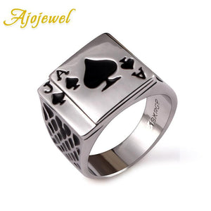 Ajojewel Classic Cool Men's Jewelry Chunky Black Enamel Spades Poker Ring Men Gold-color