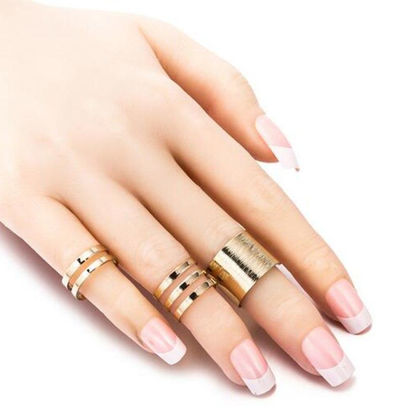1 Set/3 Pcs Punk Gold Silver Rings Female Anillos Stack Plain Band Midi Mid Finger Knuckle Rings Set for Women Anel Rock Jewelry 3