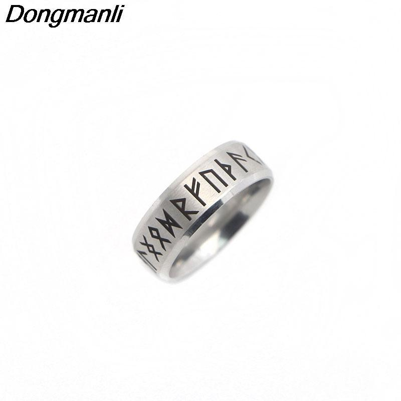 P1808 Dongmanli Punk Fashion Style Antique Retro Male Jewelry Viking Ring Female Black Amulet Vintage Norse Rune Rings For Women 1