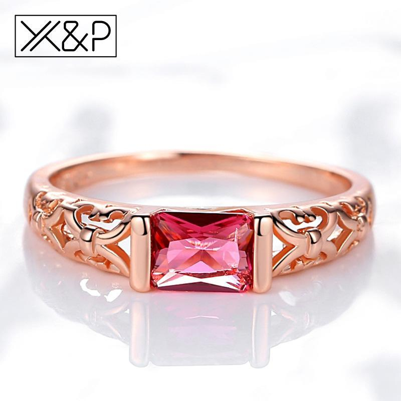 X&P Brand Unique Fashion Retro Engagement Red Crystal Rings for Women Rose Gold Silver Tone Ring Jewelry Gift 2