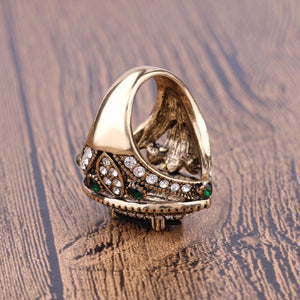 Luxury Vintage Jewelry Big  Wedding Rings For Women Gold Color Mosaic Green Crystal 2016 New Fashion Accessories 5