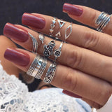 WLP 3-14 pcs /set Fashion Leaf flower triangle geometric Stone Midi Ring Sets Vintage Crystal Knuckle Rings For Women Punk rings