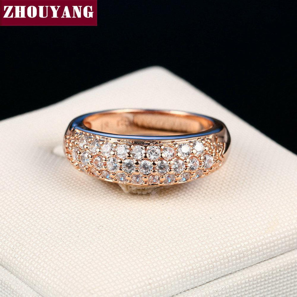 Top Quality Hot Sell Elegant Rose Gold Color Wedding Ring Austrian Crystals Full Sizes Wholesale ZYR061 ZYR109 4