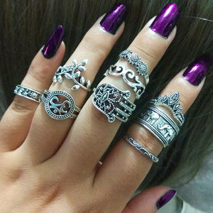 WLP 3-14 pcs /set Fashion Leaf flower triangle geometric Stone Midi Ring Sets Vintage Crystal Knuckle Rings For Women Punk rings 3