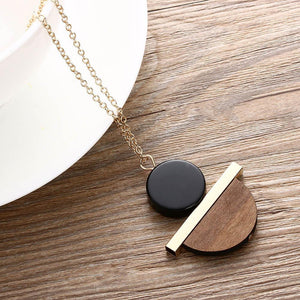 1 Pcs New Geometric Circular Resin Wood Pendant Gold Chain Long Necklace Jewelry Free Shipping 1