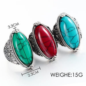 Fashion Jewelry Vintage Look Tibetan Alloy Antique Silver Plated Personality Red Green Blue Oval Calaite Ring Male Female Ring 4