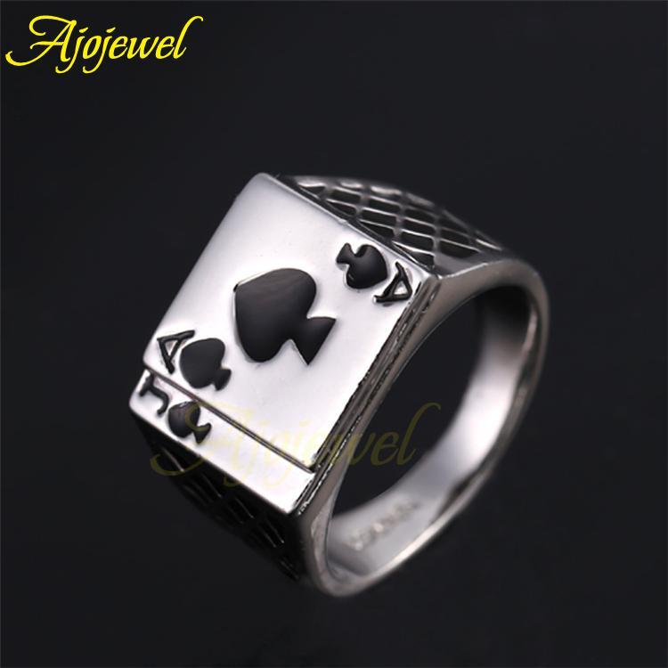 Ajojewel Classic Cool Men's Jewelry Chunky Black Enamel Spades Poker Ring Men Gold-color 3