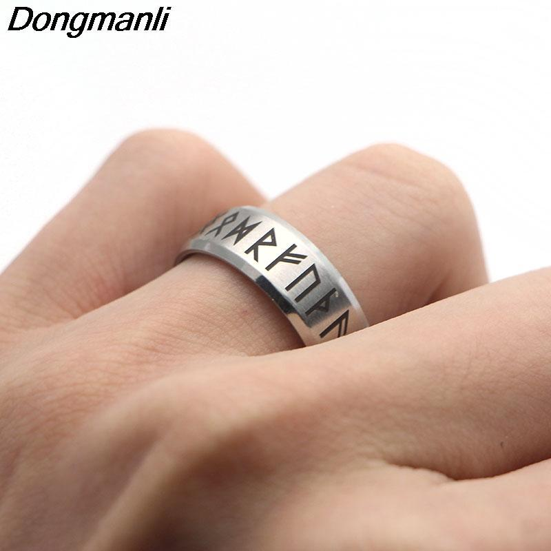 P1808 Dongmanli Punk Fashion Style Antique Retro Male Jewelry Viking Ring Female Black Amulet Vintage Norse Rune Rings For Women 5