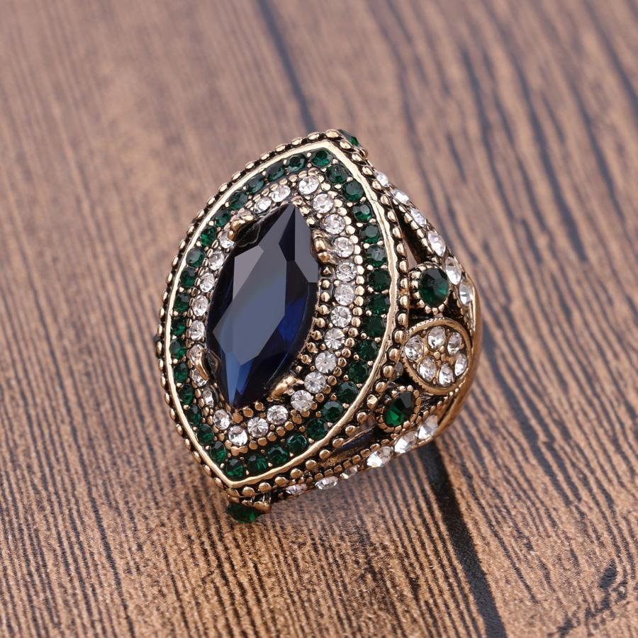 Luxury Vintage Jewelry Big  Wedding Rings For Women Gold Color Mosaic Green Crystal 2016 New Fashion Accessories 2