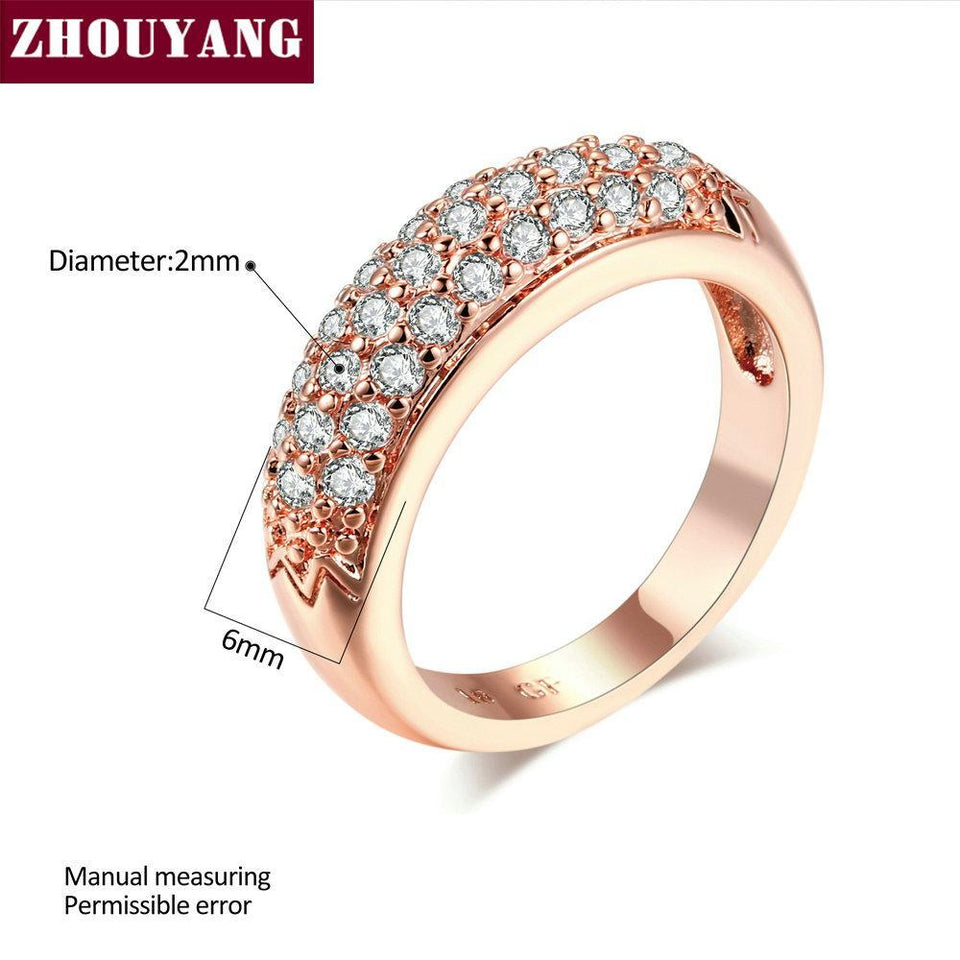 Top Quality Hot Sell Elegant Rose Gold Color Wedding Ring Austrian Crystals Full Sizes Wholesale ZYR061 ZYR109 2