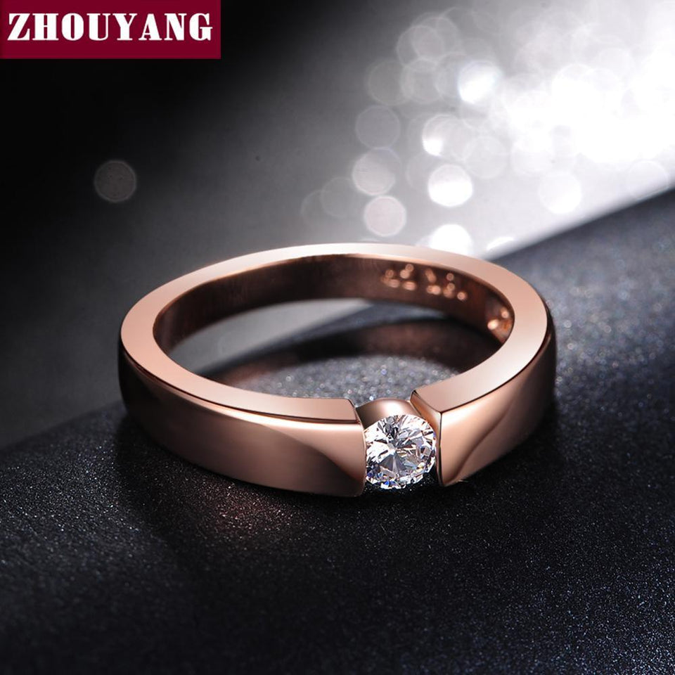 ZHOUYANG 4.5mm Hearts and Arrows Cubic Zirconia Wedding Ring Rose Gold & Silver Color Classical Finger Ring R400 R406 4