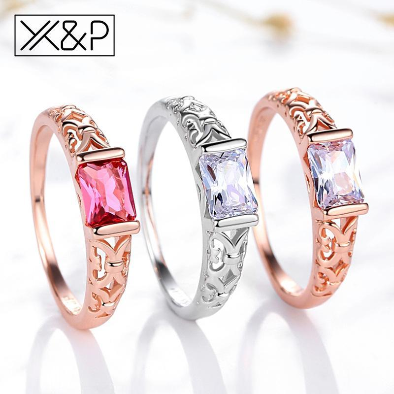 X&P Brand Unique Fashion Retro Engagement Red Crystal Rings for Women Rose Gold Silver Tone Ring Jewelry Gift 3