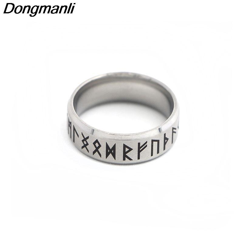 P1808 Dongmanli Punk Fashion Style Antique Retro Male Jewelry Viking Ring Female Black Amulet Vintage Norse Rune Rings For Women 2