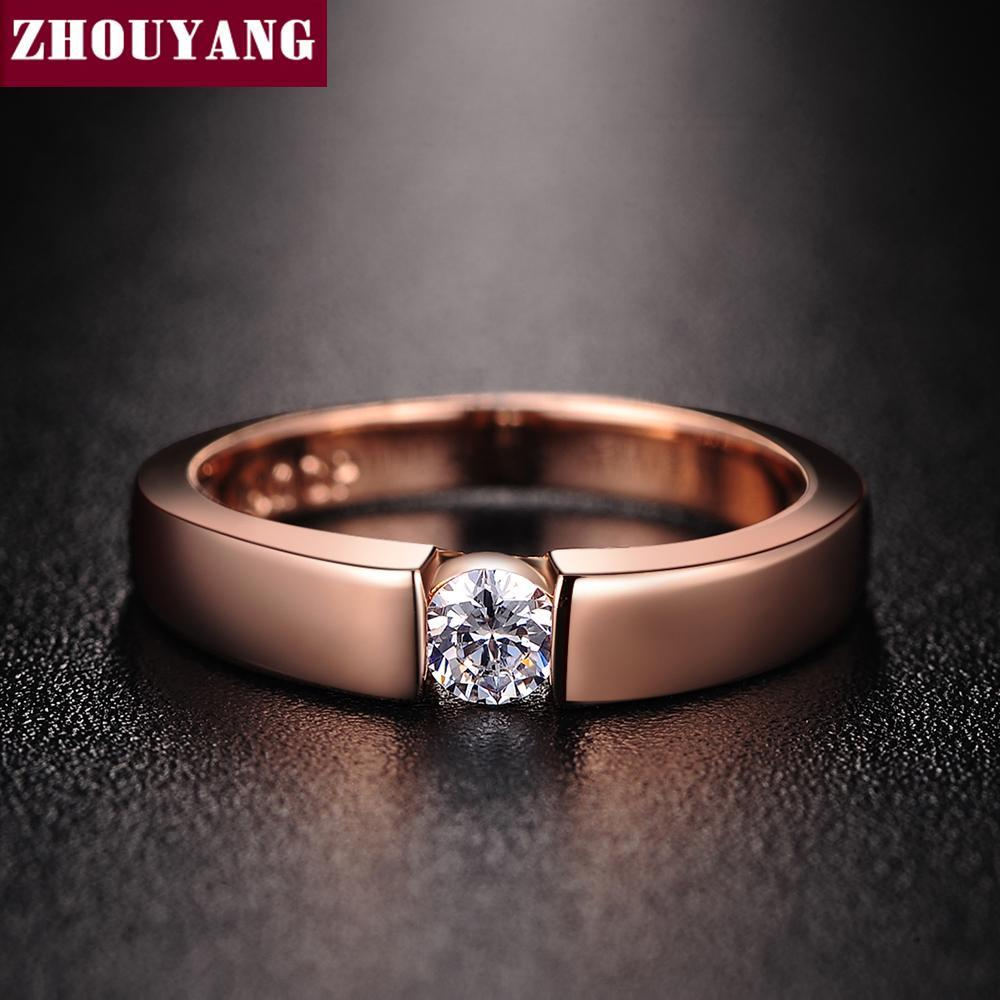 ZHOUYANG 4.5mm Hearts and Arrows Cubic Zirconia Wedding Ring Rose Gold & Silver Color Classical Finger Ring R400 R406