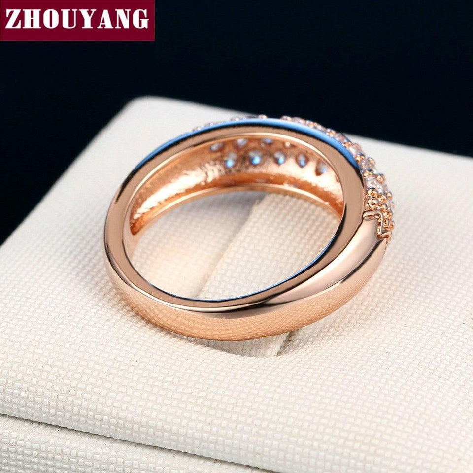 Top Quality Hot Sell Elegant Rose Gold Color Wedding Ring Austrian Crystals Full Sizes Wholesale ZYR061 ZYR109 5