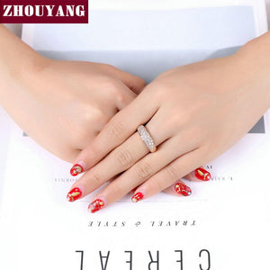 Top Quality Hot Sell Elegant Rose Gold Color Wedding Ring Austrian Crystals Full Sizes Wholesale ZYR061 ZYR109 3