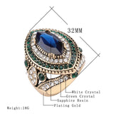 Luxury Vintage Jewelry Big  Wedding Rings For Women Gold Color Mosaic Green Crystal 2016 New Fashion Accessories 1