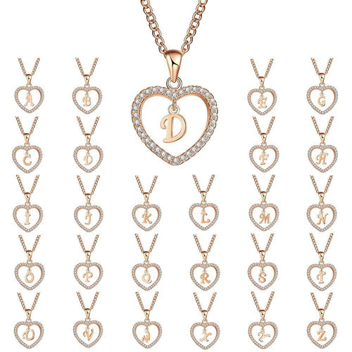 17KM A To Z 26 Letter Name Necklaces & Pendant For Women Girl Fashion Long Chain Heart Necklaces Cubic Zirconia DIY Jewelry Gift