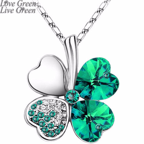 12 Color Fashion Austrian Crystal Four Leaf Leaves Clover Heart Rhinestones Necklace Pendant for Women White Gold Color Jewelry