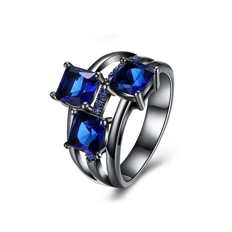 QCOOLJLY Fashion Blue Pink Purple Crystal Black Gold Color Cocktail Party Rings For Women Full Size Ring Wholesale Top Quality 3
