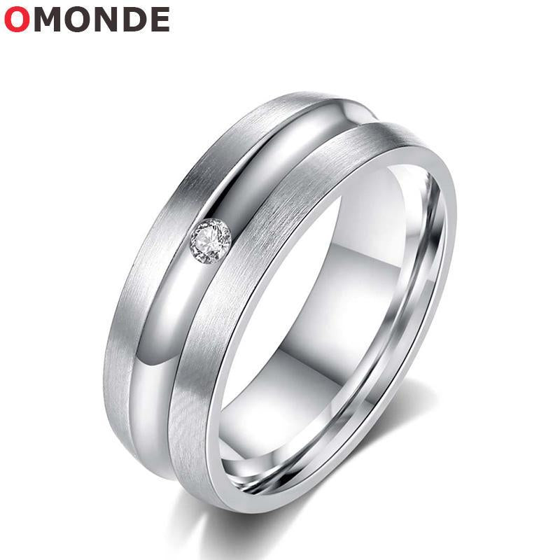 OMONDE Women Rings Silver Color Stainless Steel Wedding Bands Crystal Zirconia Stone for Female Engagement Jewelry Promotion