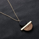 1 Pcs New Geometric Circular Resin Wood Pendant Gold Chain Long Necklace Jewelry Free Shipping 2