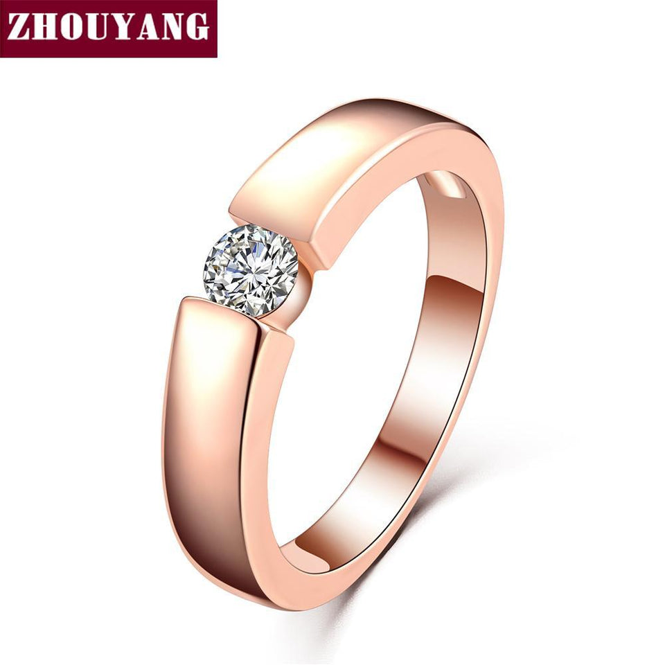 ZHOUYANG 4.5mm Hearts and Arrows Cubic Zirconia Wedding Ring Rose Gold & Silver Color Classical Finger Ring R400 R406 2