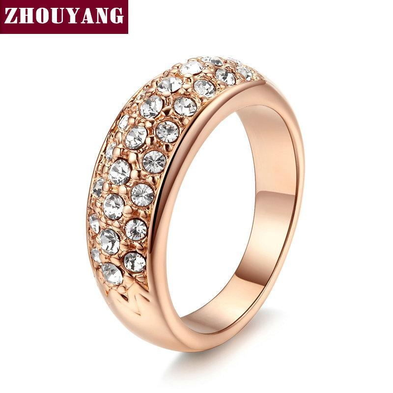 Top Quality Hot Sell Elegant Rose Gold Color Wedding Ring Austrian Crystals Full Sizes Wholesale ZYR061 ZYR109
