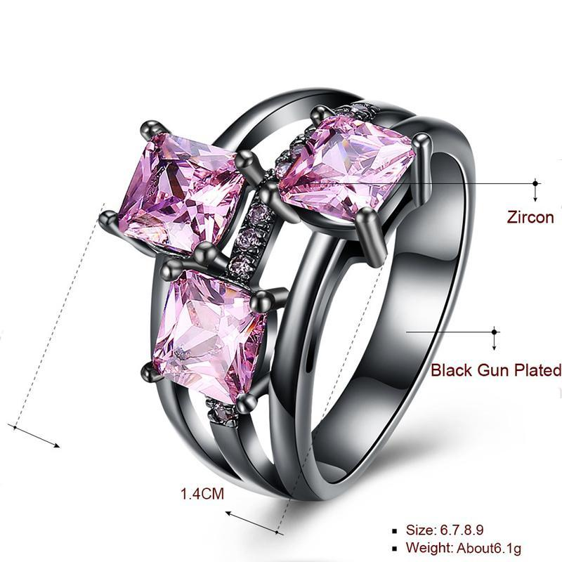 QCOOLJLY Fashion Blue Pink Purple Crystal Black Gold Color Cocktail Party Rings For Women Full Size Ring Wholesale Top Quality 5