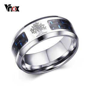 Vnox 8mm Carbon Fiber Ring For Man Engraved Tree Of Life Stainless Steel Male Alliance Casual Customize Jewelry US Size 7# -12#