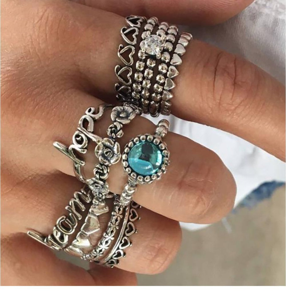 WLP 3-14 pcs /set Fashion Leaf flower triangle geometric Stone Midi Ring Sets Vintage Crystal Knuckle Rings For Women Punk rings 5