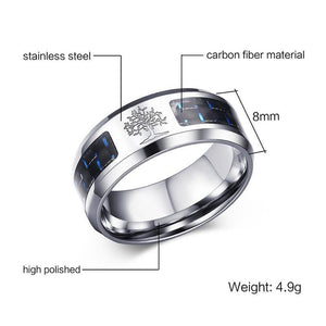 Vnox 8mm Carbon Fiber Ring For Man Engraved Tree Of Life Stainless Steel Male Alliance Casual Customize Jewelry US Size 7# -12# 2