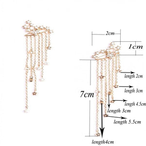 1 Pair Fashion Women Stylish Gold/ Silver Color Star Streamlined Tassel Long Crystal Earrings Women Girl Jewelry Pendante Femme  2