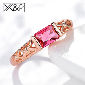 X&P Brand Unique Fashion Retro Engagement Red Crystal Rings for Women Rose Gold Silver Tone Ring Jewelry Gift 1