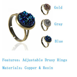 DoreenBeads Women Copper Adjustable Drusy Rings Round Antique Bronze Royal Blue Silver-gray AB Color 16.7mm(US size 6.25), 2 PCs 4