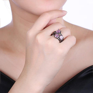 QCOOLJLY Fashion Blue Pink Purple Crystal Black Gold Color Cocktail Party Rings For Women Full Size Ring Wholesale Top Quality 1