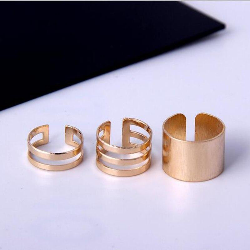1 Set/3 Pcs Punk Gold Silver Rings Female Anillos Stack Plain Band Midi Mid Finger Knuckle Rings Set for Women Anel Rock Jewelry 5