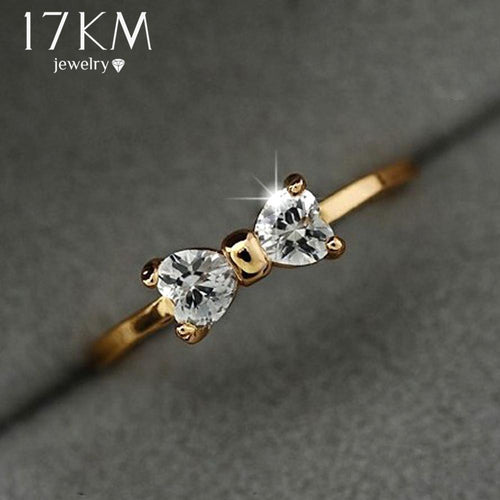 17KM Austria Crystal rings Gold Color finger Bow ring wedding engagement Zircon Crystal Rings women jewelry wholesale