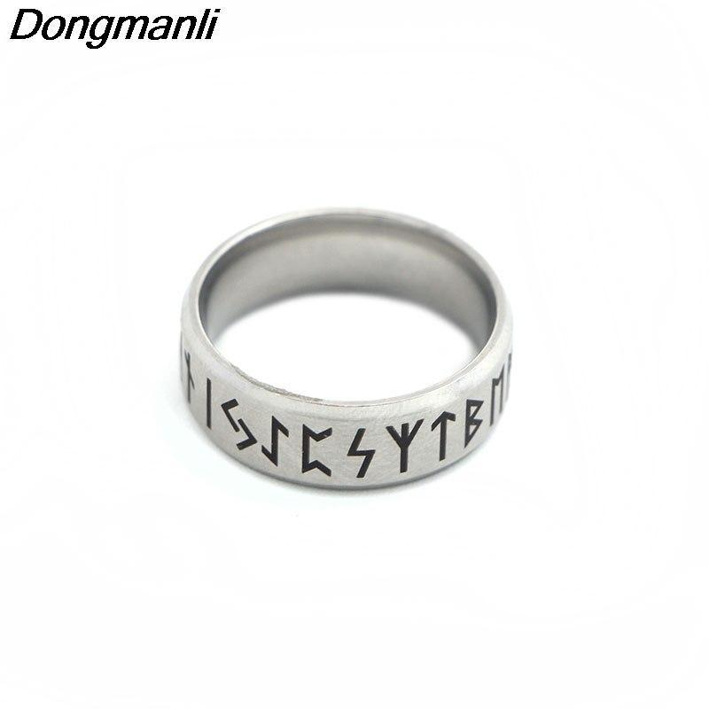 P1808 Dongmanli Punk Fashion Style Antique Retro Male Jewelry Viking Ring Female Black Amulet Vintage Norse Rune Rings For Women 3