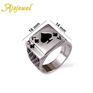Ajojewel Classic Cool Men's Jewelry Chunky Black Enamel Spades Poker Ring Men Gold-color 1