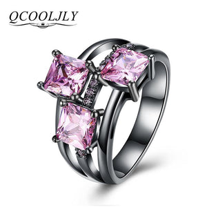QCOOLJLY Fashion Blue Pink Purple Crystal Black Gold Color Cocktail Party Rings For Women Full Size Ring Wholesale Top Quality