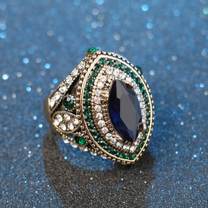 Luxury Vintage Jewelry Big  Wedding Rings For Women Gold Color Mosaic Green Crystal 2016 New Fashion Accessories 3