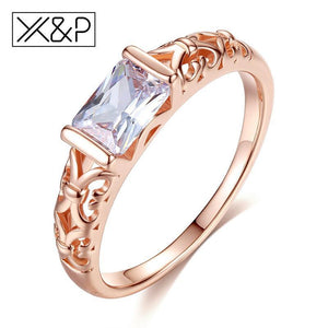 X&P Brand Unique Fashion Retro Engagement Red Crystal Rings for Women Rose Gold Silver Tone Ring Jewelry Gift