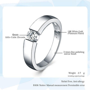 ZHOUYANG 4.5mm Hearts and Arrows Cubic Zirconia Wedding Ring Rose Gold & Silver Color Classical Finger Ring R400 R406 3