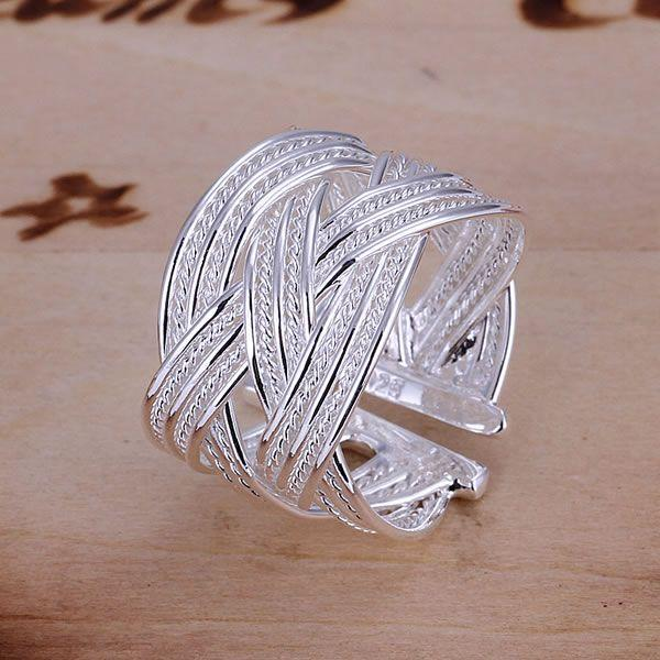 KN-R024 Hot Sale 925 Free Shipping Silver Fine Jewelry Wholesale Silver Charms Fashion Jewelry Big Web Ring-Opened 1