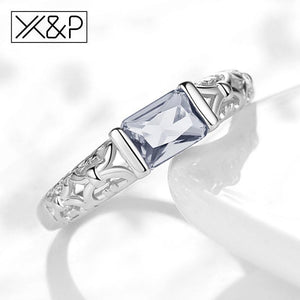 X&P Brand Unique Fashion Retro Engagement Red Crystal Rings for Women Rose Gold Silver Tone Ring Jewelry Gift 4