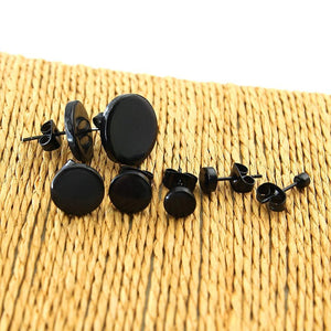1 Pair Stainless Steel Ear Studs Earrings Black Plated Round Shaped with Butterfly Clasp Push Back Earrings Women Men Earrings 4