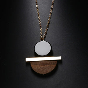 1 Pcs New Geometric Circular Resin Wood Pendant Gold Chain Long Necklace Jewelry Free Shipping 3