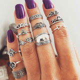 WLP 3-14 pcs /set Fashion Leaf flower triangle geometric Stone Midi Ring Sets Vintage Crystal Knuckle Rings For Women Punk rings 1